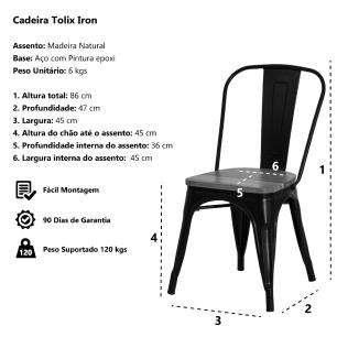 Kit 4 Cadeiras Tolix Iron Assento Madeira Preto Brilhante Aço Industrial Sala Cozinha Jantar Bar
