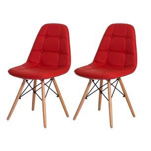 Kit 2 Cadeiras Eiffel Botonê Eames Dsw Vermelha Base Madeira Sala Cozinha Jantar