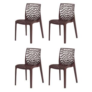 Kit 4 Cadeiras Gruvyer Marrom Sala Cozinha Jantar