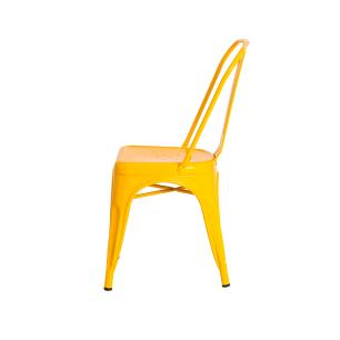 Kit 2 Cadeiras Tolix Iron Design Amarela Aço Industrial Sala Cozinha Jantar Bar
