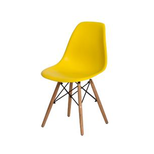 Kit 6 Cadeiras Eiffel Eames Dsw Amarelo Base Madeira