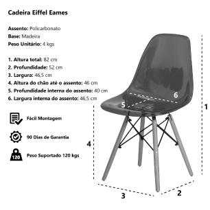Kit 3 Cadeiras Eiffel Eames Dsw Transparente Base Madeira Sala Cozinha Jantar