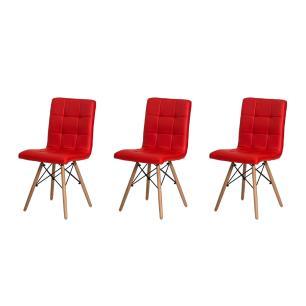 Kit 3 Cadeiras Gomos Vermelha Base Madeira Sala Jantar Cozinha