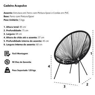 Kit 4 Cadeiras Acapulco Oval Pvc Base Ferro Pintado Preta