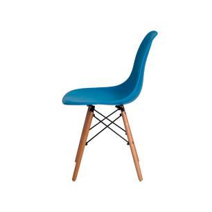 Kit 2 Cadeiras Charles Eames Eiffel Azul Base Madeira Sala Cozinha Jantar