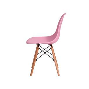 Kit 2 Cadeiras Eiffel Eames Dsw Rosa Claro Base Madeira