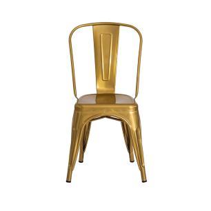 Cadeira Tolix Iron Design Chrome Gold Aço Industrial Sala Cozinha Jantar Bar