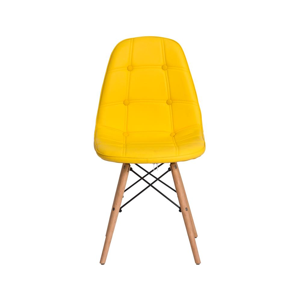 Kit 2 Cadeiras Eiffel Botonê Eames Dsw Amarela Base Madeira Sala Cozinha Jantar