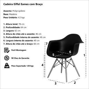 Cadeira Eiffel Eames Daw C/braço Vermelha Base Madeira Sala Cozinha Jantar