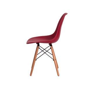 Kit 6 Cadeiras Eiffel Eames Dsw Vinho Base Madeira