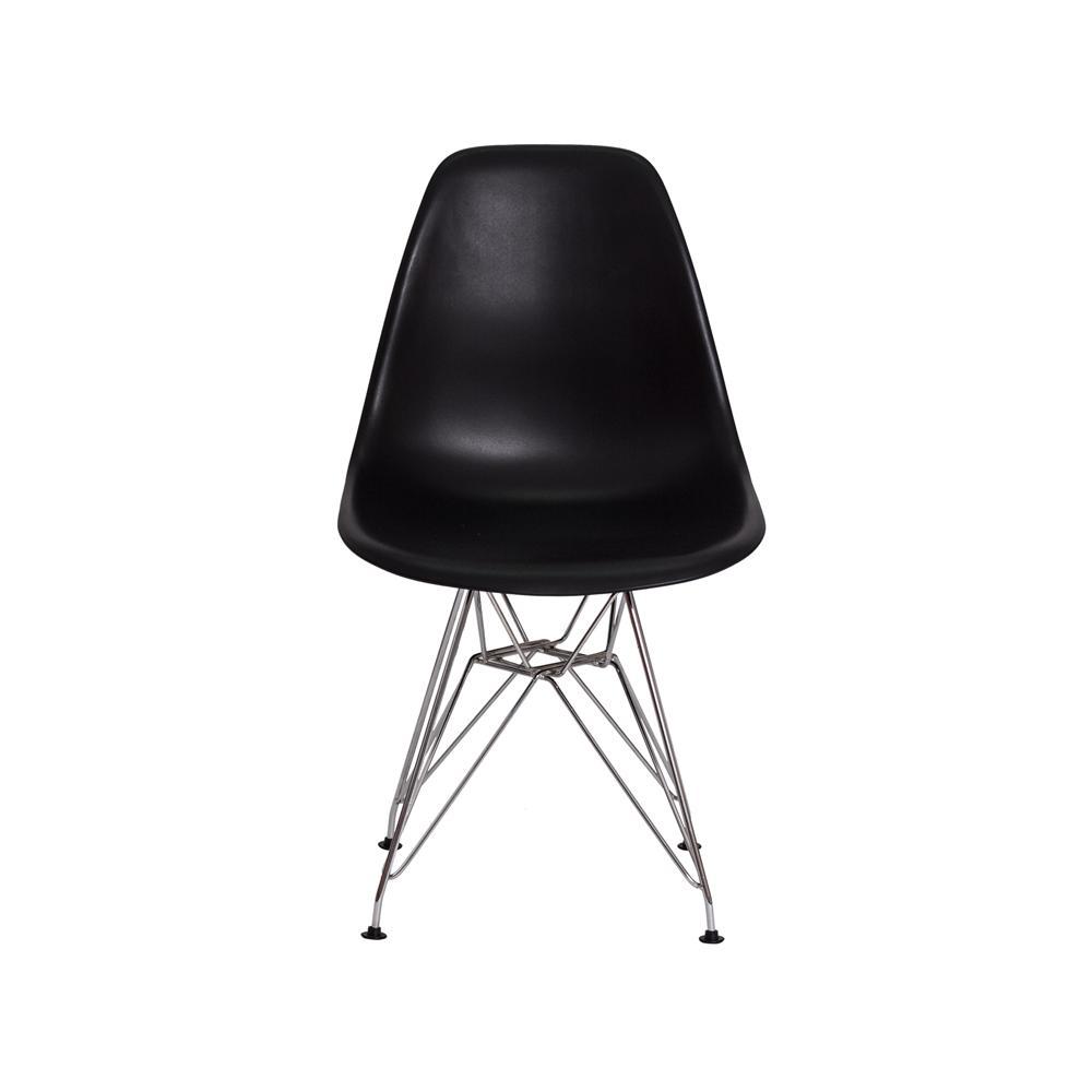 Kit 2 Cadeiras Eiffel Eames Preta Base Cromada Sala Cozinha Jantar