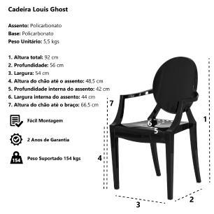 Kit 2 Cadeiras Louis Ghost Branca Policarbonato Sala Cozinha Jantar