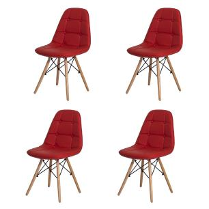 Kit 4 Cadeiras Eiffel Botonê Eames Dsw Vermelha Base Madeira Sala Cozinha Jantar