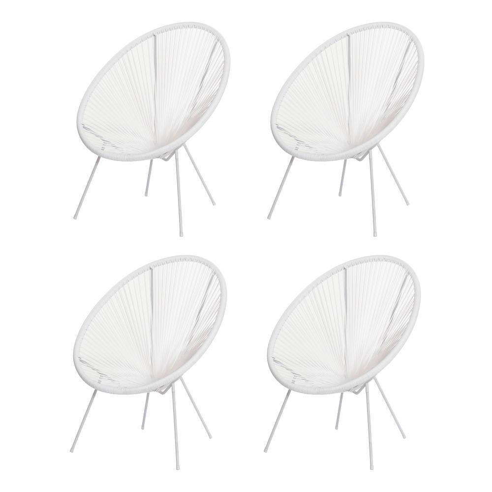 Kit 4 Cadeiras Acapulco Oval Pvc Base Ferro Pintado Branca