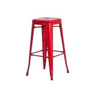 Banqueta Tolix Iron Design Industrial Vermelha 76 cm Aço Cozinha Bar Bistrô Bancada
