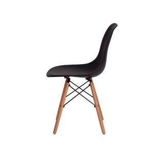 Kit 3 Cadeiras Eiffel Eames Dsw Preta Base Madeira