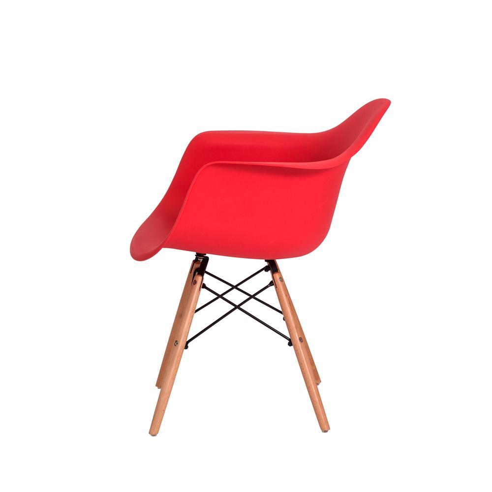 Kit 2 Cadeiras Eiffel Eames Daw C/braço Vermelha Base Madeira Sala Cozinha Jantar