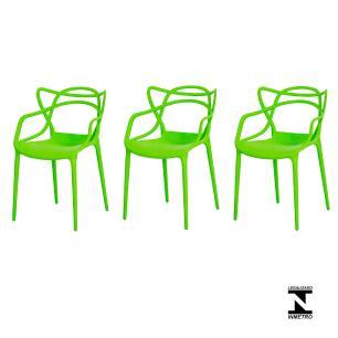 Kit 3 Cadeiras Allegra Verde Sala Cozinha Jantar