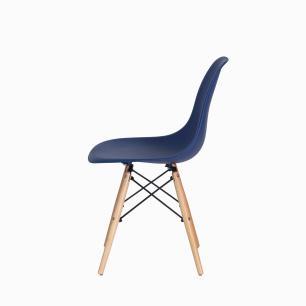 Cadeira Charles Eames Eiffel Azul Marinho Base Madeira