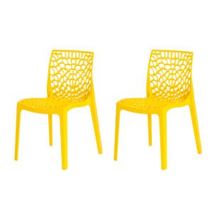 Kit 2 Cadeiras Gruvyer Amarela Sala Cozinha Jantar