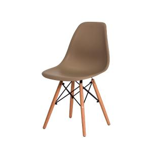 Kit 3 Cadeiras Charles Eames Eiffel Nude Base Madeira Sala Cozinha Jantar