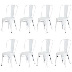 Kit 8 Cadeiras Tolix Iron Design Branca Aço Industrial Sala Cozinha Jantar Bar