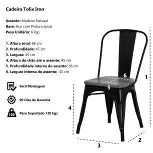 Cadeira Tolix Iron Assento Madeira Branca Aço Industrial Sala Cozinha Jantar Bar