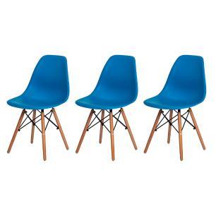 Kit 3 Cadeiras Charles Eames Eiffel Azul Base Madeira Sala Cozinha Jantar