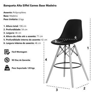 Banqueta Alta Eiffel Eames Vermelha Base Madeira Cozinha Bar Bistrô Bancada