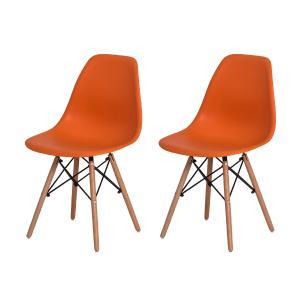 Kit 2 Cadeiras Charles Eames Eiffel Laranja Base Madeira Sala Cozinha Jantar