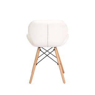 Kit 4 Cadeiras Slim Branca Base Madeira