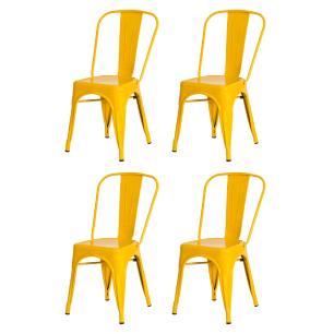 Kit 4 Cadeiras Tolix Iron Design Amarela Aço Industrial Sala Cozinha Jantar Bar