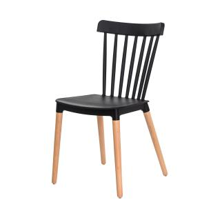 Kit 2 Cadeiras Ellen Polipropileno Preta Base Madeira