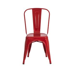 Kit 6 Cadeiras Tolix Iron Design Vermelha Aço Industrial Sala Cozinha Jantar Bar
