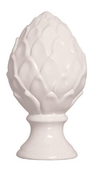 Pinha em Cerâmica Decorativa Branca Baixa