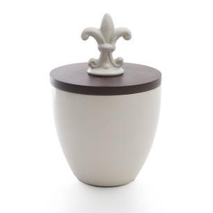 Vaso Decorativo em Cerâmica e Madeira