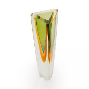 Vaso triângulo  em cristal multicolor