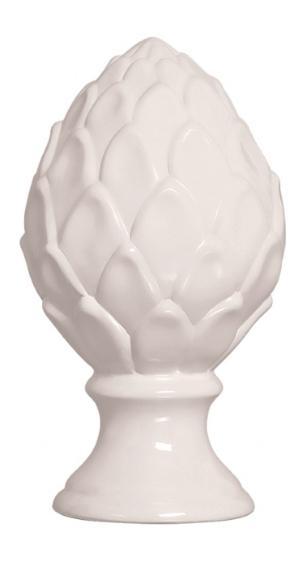 Pinha em Cerâmica Decorativa Branca Alta