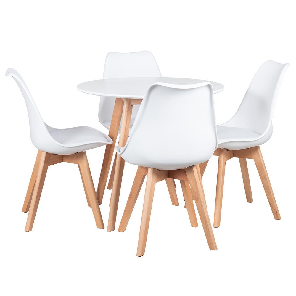 KIT - Mesa Leda 80 cm + 4 cadeiras Leda