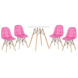 KIT - Mesa Eames Eiffel 70 cm + 4 cadeiras estofadas Botonê