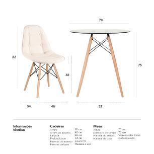 KIT - Mesa de vidro Eames 70 cm + 4 cadeiras Eames Botonê