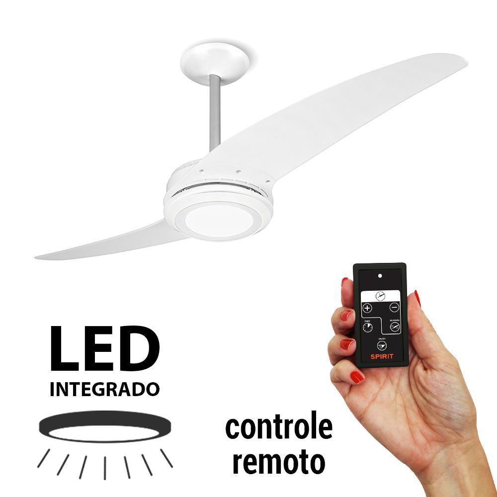 Ventilador De Teto Spirit 203 Branco Led Controle Remoto