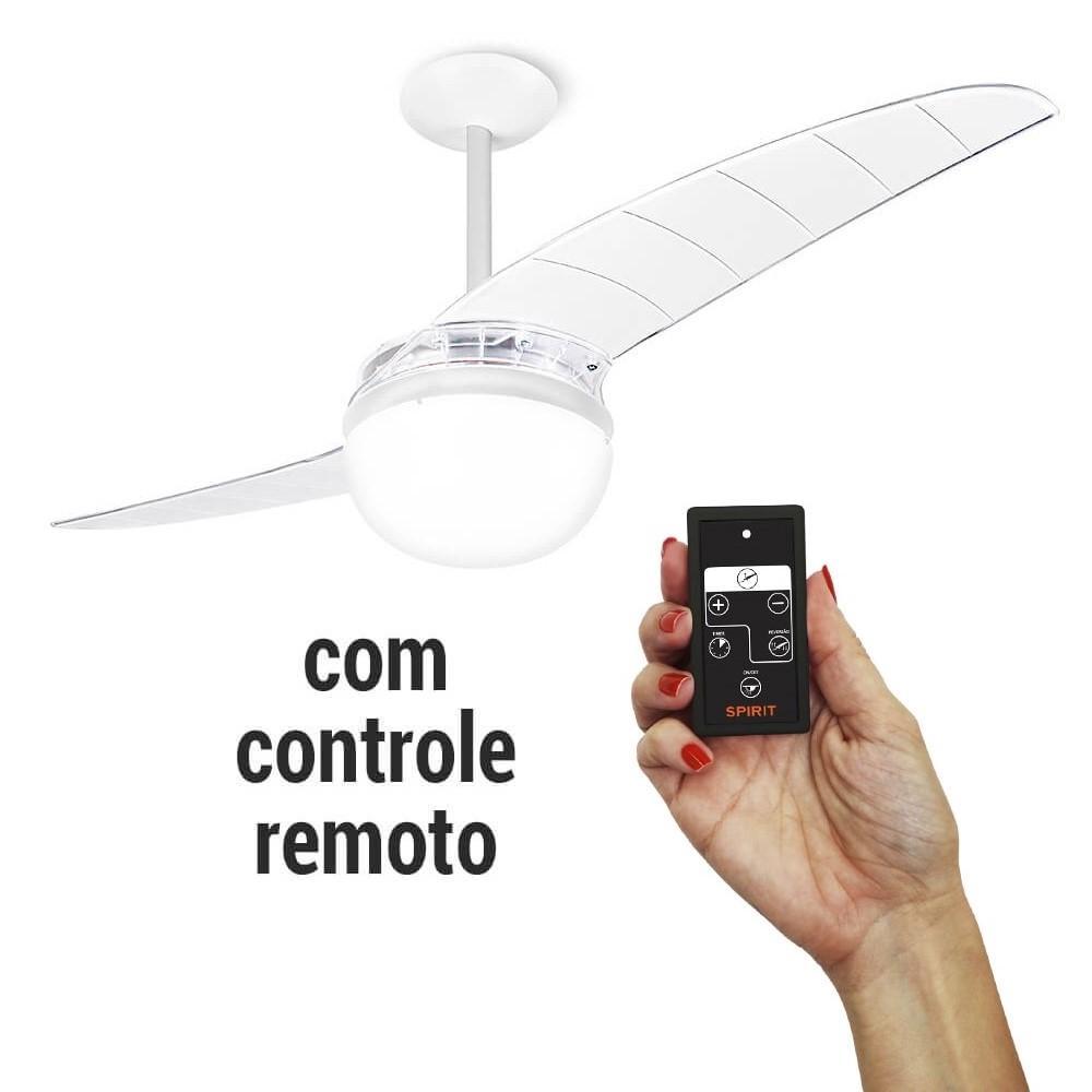 Ventilador De Teto Spirit 202 Cristal Lustre Globo Controle Remoto Cr01