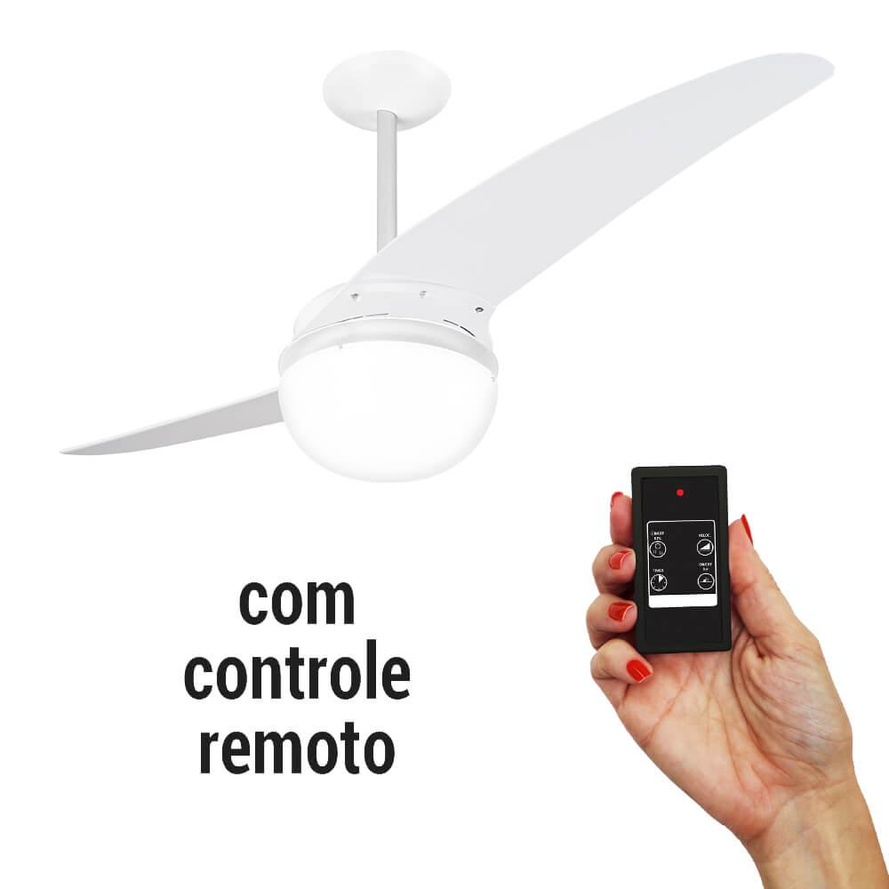 Ventilador De Teto Spirit 202 Branco Lustre Globo Controle Remoto Cr01