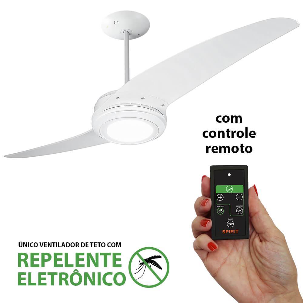 Ventilador De Teto Spirit 203 Branco Led Repelente Controle Remoto