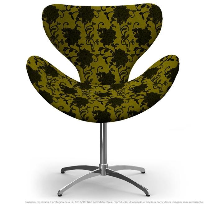 Cadeira Egg Floral Preto e Amarelo Poltrona Decorativa com Base Giratória