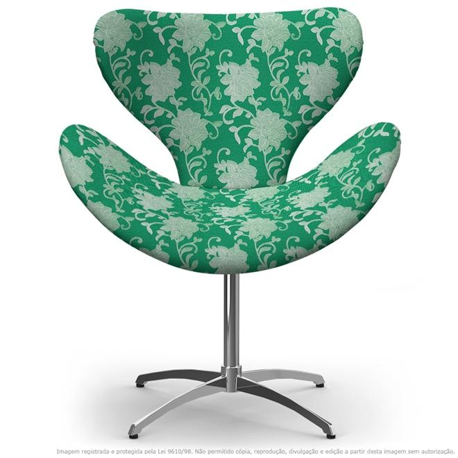 Cadeira Egg Floral Verde Poltrona Decorativa com Base Giratória