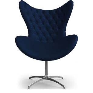 Cadeira Decorativa Com Capitonê Big Egg Azul Marinho Giratória