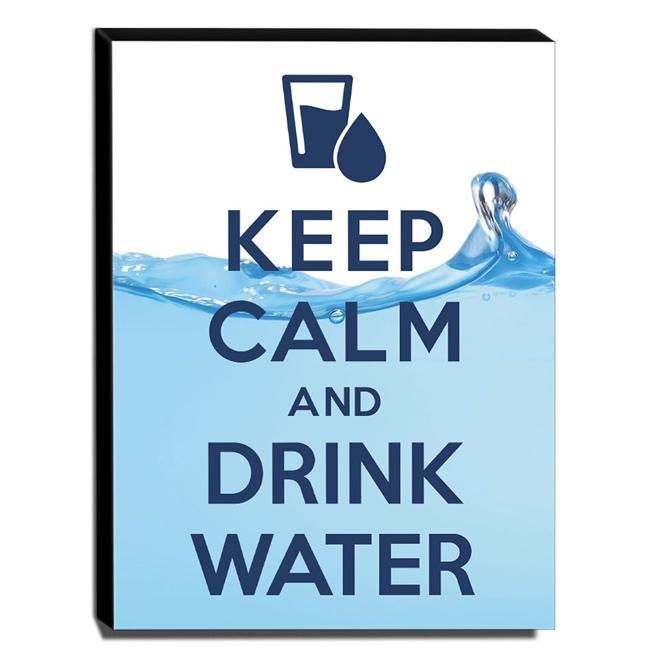 Quadro Keep Calm And Drink Water Canvas 40x30cm-KCA67