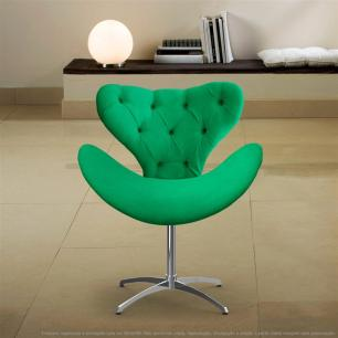 Cadeira com Capitonê Decorativa Poltrona Egg Verde com Base Giratória